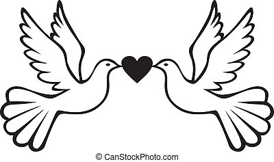 Pair of doves with heart - Pair of white doves holding heart