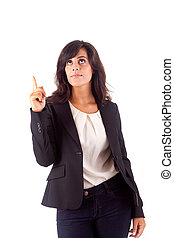 Smiling woman pointing up over white background