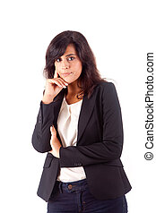 Beautiful business woman thinking over white background
