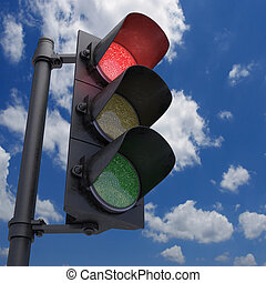 Traffic Light Red - Traffic Light in a blue sky with only...