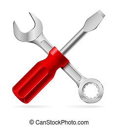 Tools for repair - Screwdriver and wrench. Illustration on...