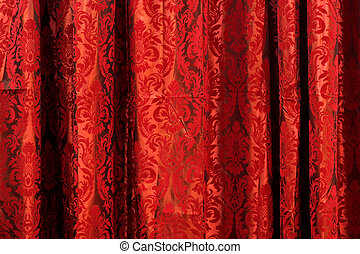 Drapery - Wavy drapery material textile with red pattern