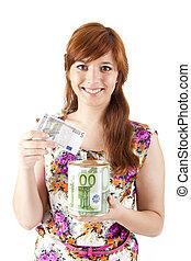 vacker, pengar, kvinna, besparing