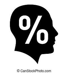 Human face with percent sign Illustration on white...