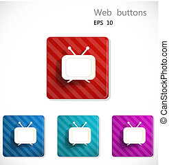 Buttons with icon of television