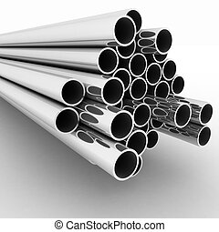 Metal pipes 3d render illustration on the white background...