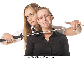 Difficuilt situation - Two girls demonstrating difficuilt...