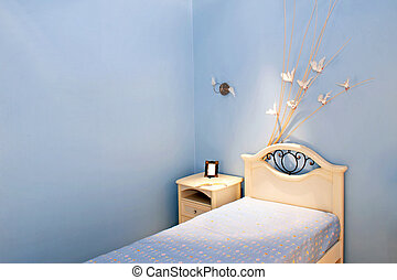 Blue room bed - Children bedroom in blue style with doves