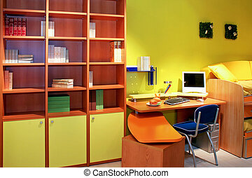Children closet - Children room with double bed and desk