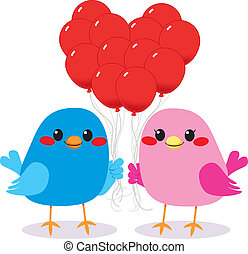Birds Love Heart Balloons - Cute bird couple in love holding...