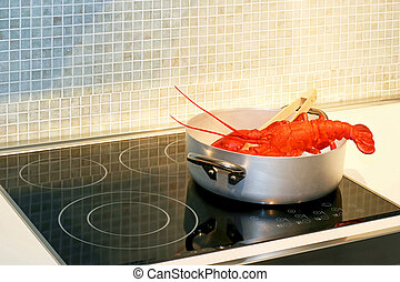 Lobster in pot - Red lobster steaming in pot on hob