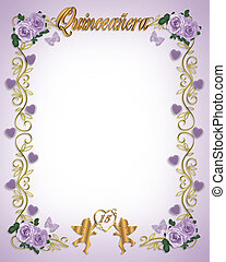 15th Birthday Quinceanera - Illustration composition for...