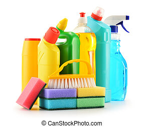 Detergent bottles isolated on white. Chemical cleaning...