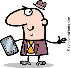 man with tablet pc cartoon illustration - Cartoon...