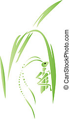 Grasshopper on a grass blade - Illustration of a grasshopper...