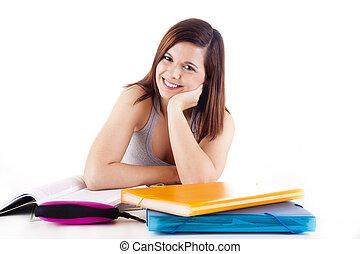 勉強, 女, 若い
