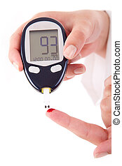 Diabetes patient measuring glucose level blood