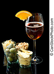 long drinks with oranges and appetizers