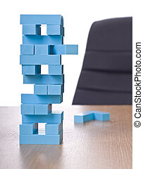 building block game on office desk