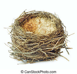 Bird nest, isolated on white