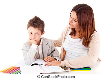 Happy woman, mother or teacher helping kid with schoolwork