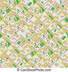 Abstract map of city - seamless vector background