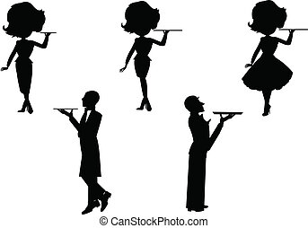 waiter and waitress set in silhouette with various styles