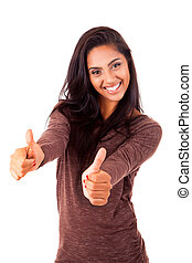 Beautiful mix race woman showing thumbs up over white...