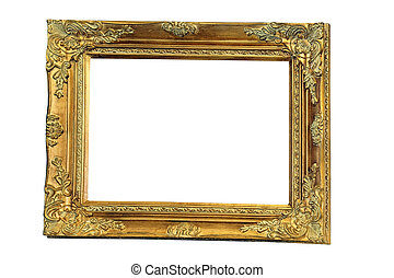 Old gold frame - Big rectangular frame in pure gold color