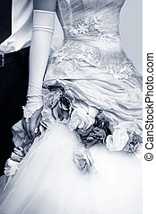Wedding dress - The groom and the bride. b/w + blue tone
