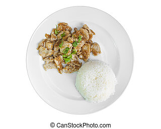 Garlic Pork and rice on plate