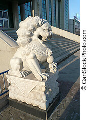 stone lion - close up of stone lion, in an attractions,...