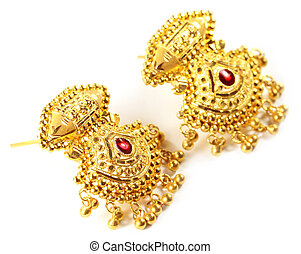 Indian wedding earrings over white background