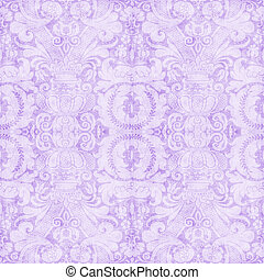 Vintage Light Lavender Tapestry - Worn tapestry pattern in...