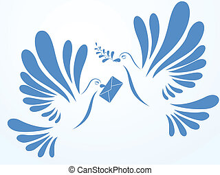 Vector doves with mail and spray