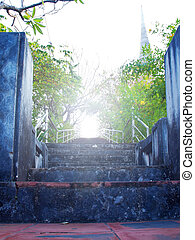 Staircase to otherworldly with ancient pagoda on background