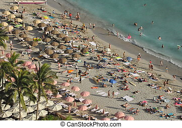 Waikiki Beach in Hawaii - Waikiki Beach in Honolulu Oahu,...