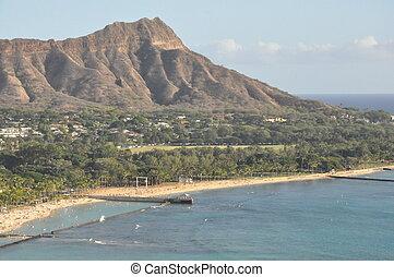 Waikiki Beach in Hawaii - Waikiki Beach in Honolulu (Oahu),...