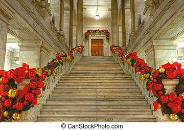 State Capitol at Christmas - Arkansas state capitol rotunda...