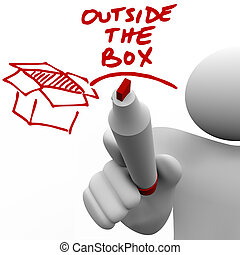 Outside the Box Man Writing Words Marker - A man, person or...