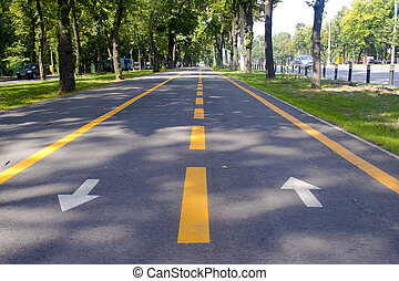 Bike lanes - Multidirectional urban bike path on tree lined...