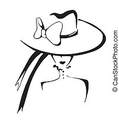 Sketch of elegant woman in hat. Black and white vector...