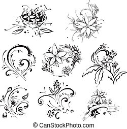 Stylistic decorative flower elements - Stylistic flower...