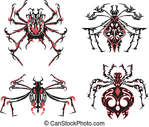 Black and red symmetric spider tattoos. Vector Illustration...