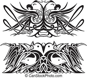 Stylized symmetric vignettes with birds. Vector illustration...