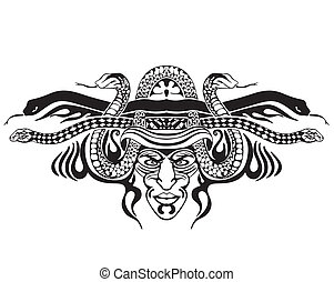 stylizowany, symetryczny, Winieta, węże