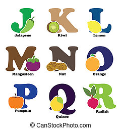 Fruit and vegetable alphabet - A vector illustration of...