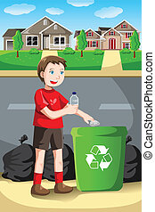 Recycling kid - A vector illustration of a kid recycles a...