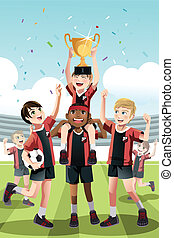 Soccer team winning - A vector illustration of a young...