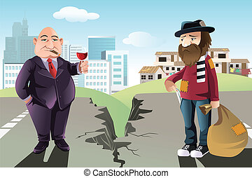 Rich and poor concept - A vector illustration of a concept...